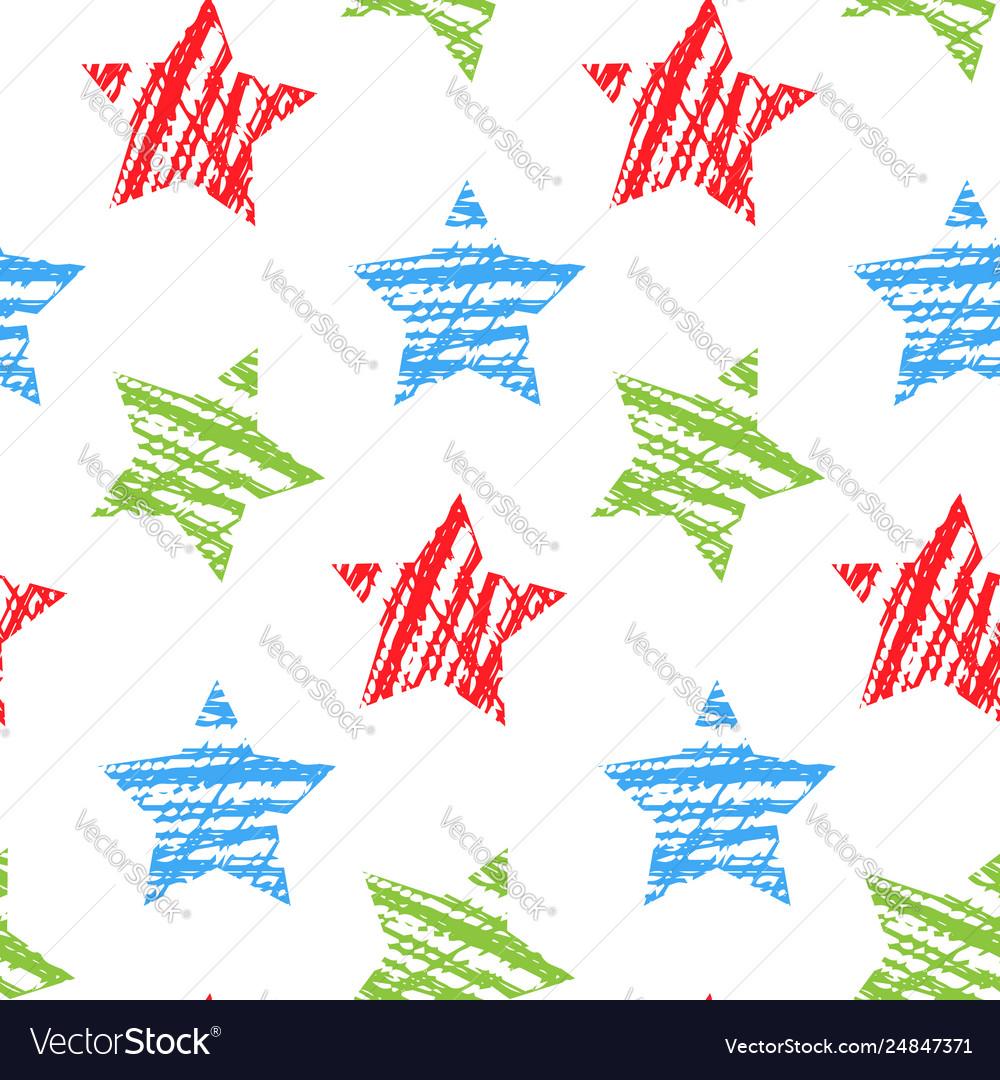 Seamless pattern with stars hand drawn