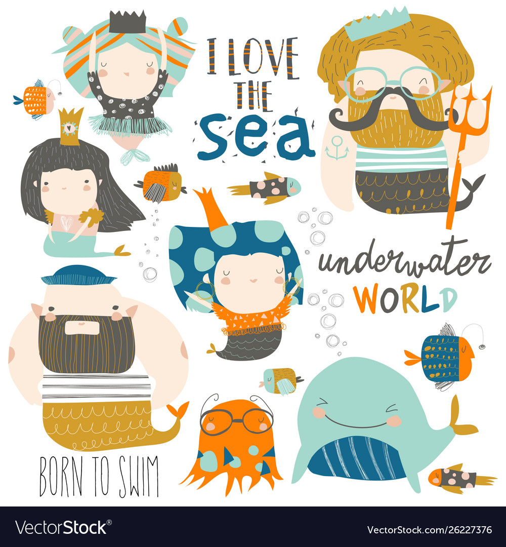 Cartoon set with little mermaids under sea