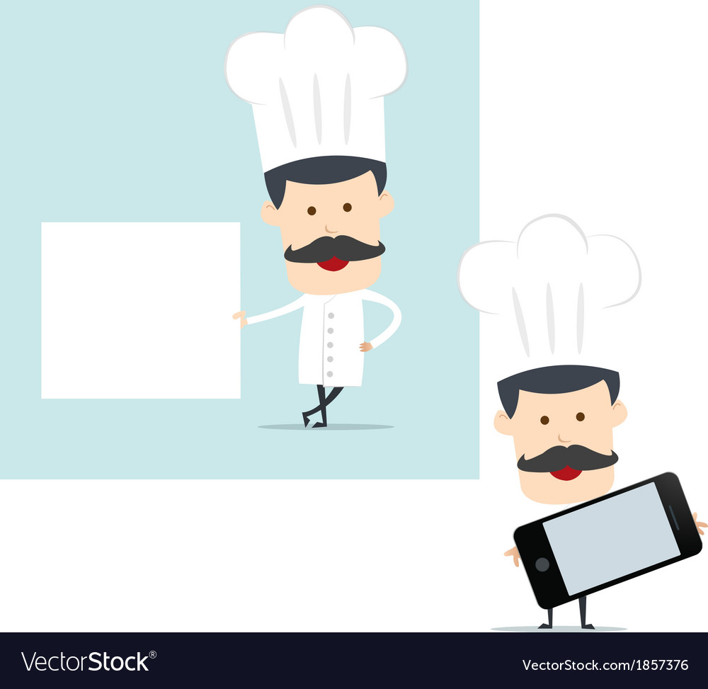 Chef show blank board for use in advertising