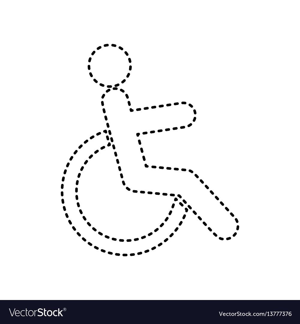 Disabled sign black dashed