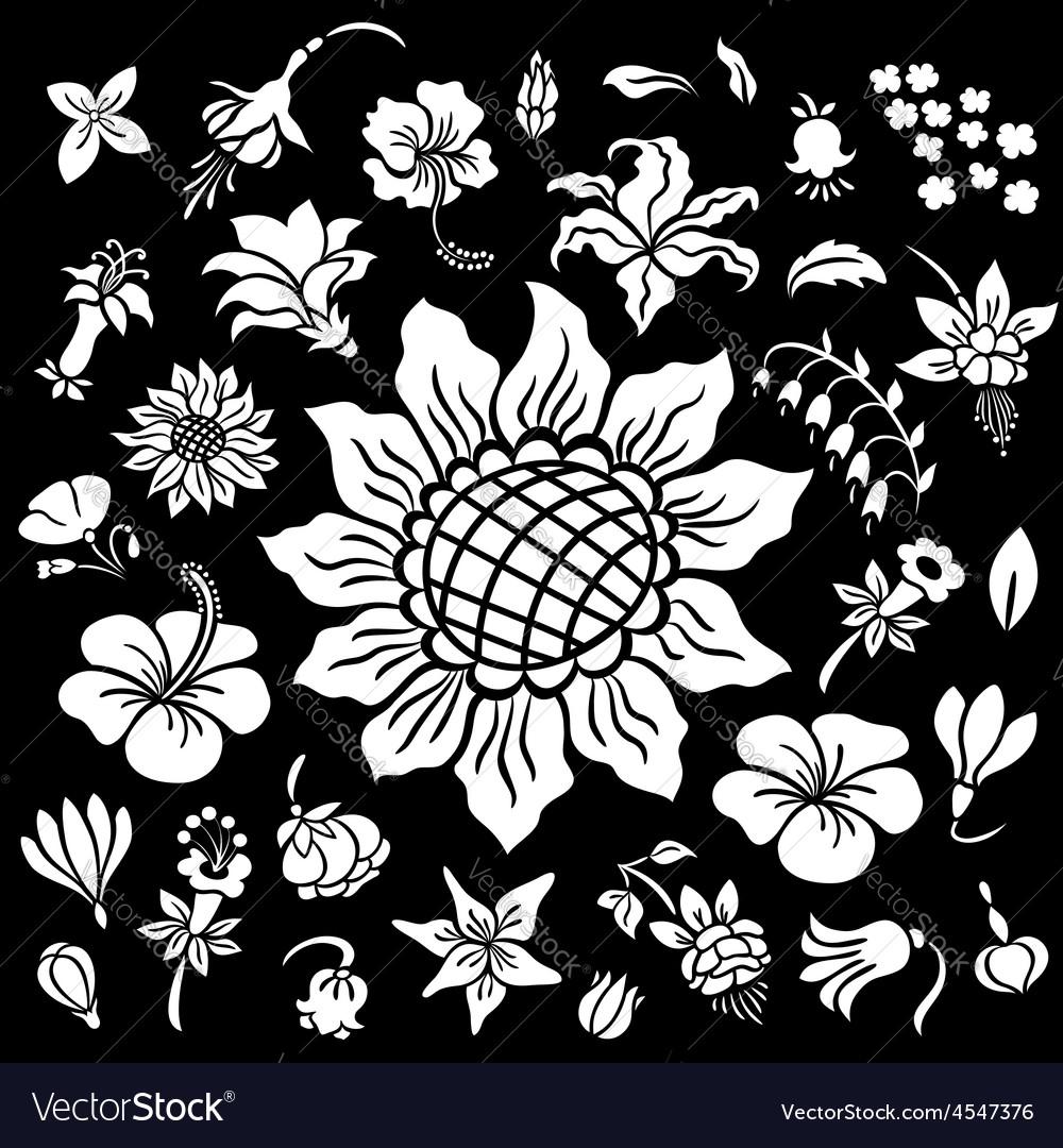 Flower silhouettes set