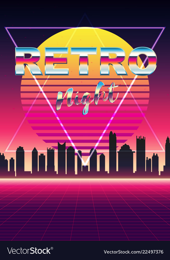 posters 80s retro sci fi background with night vector image