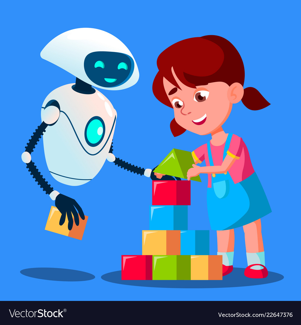 Robot baby sitter playing cubes with child