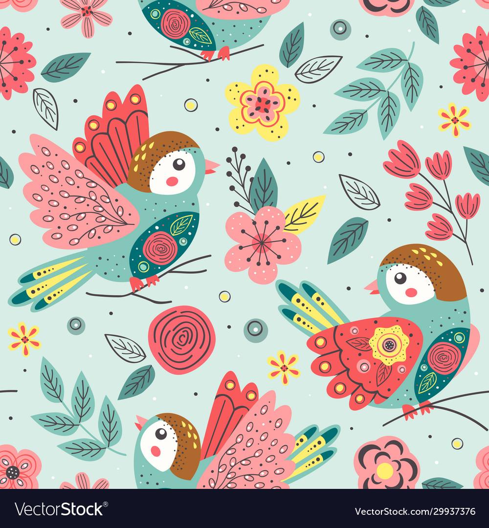 Seamless pattern with beautiful spring bird