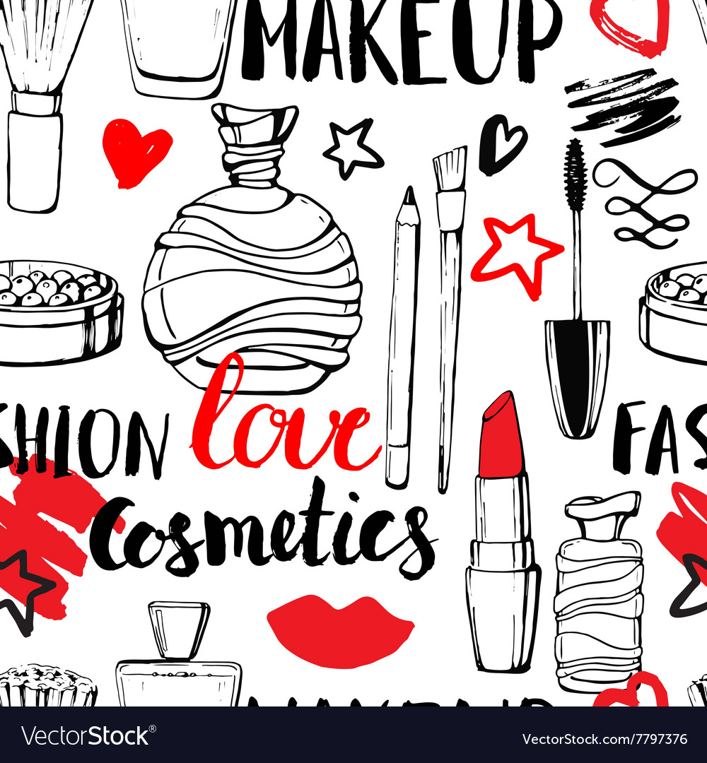 Seamless pattern with perfume and cosmetics vector image