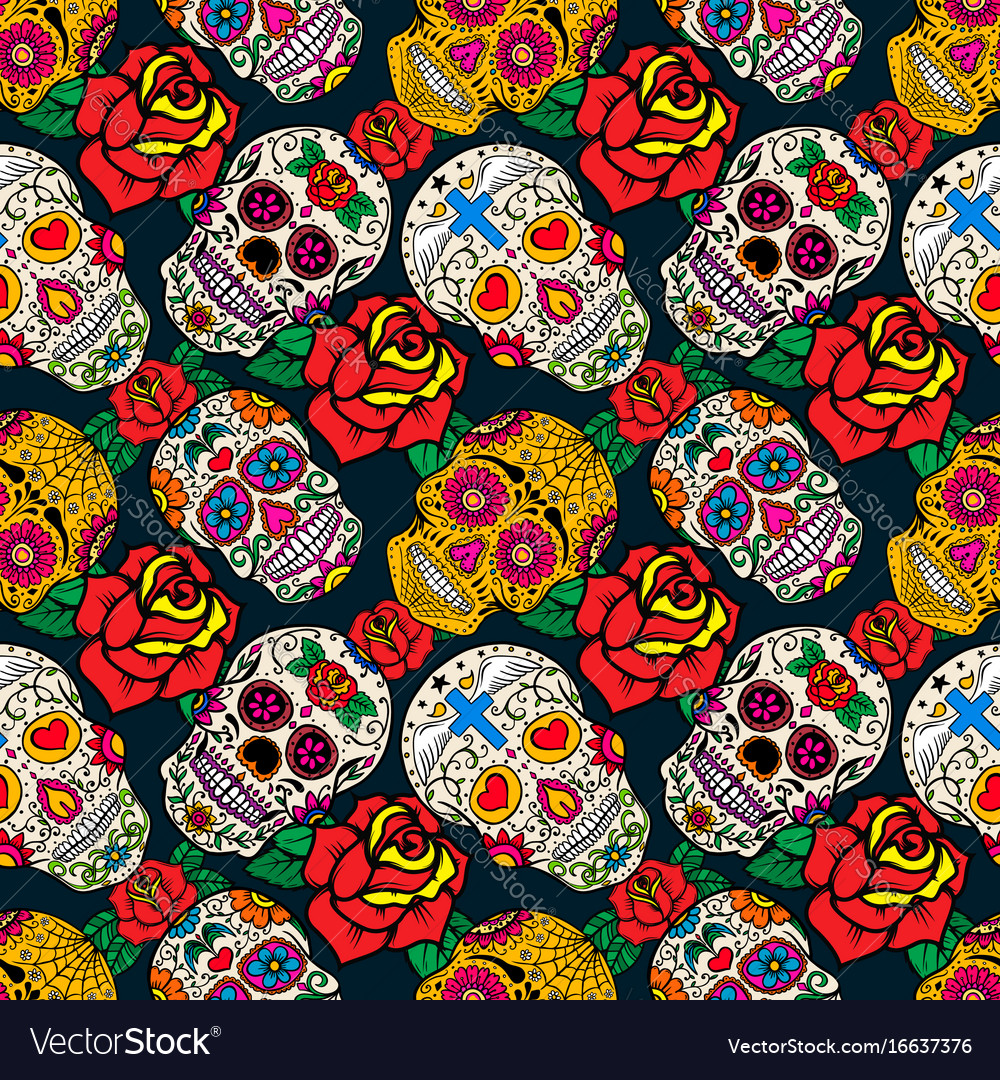 Seamless pattern with sugar skulls and roses dead