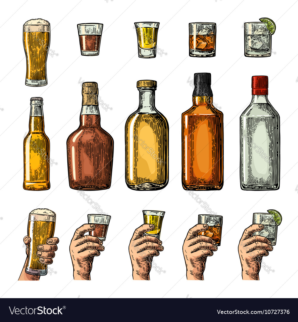 Set alcohol drinks with bottle glass and hand