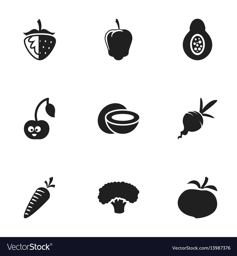 Set of 9 editable food icons includes symbols