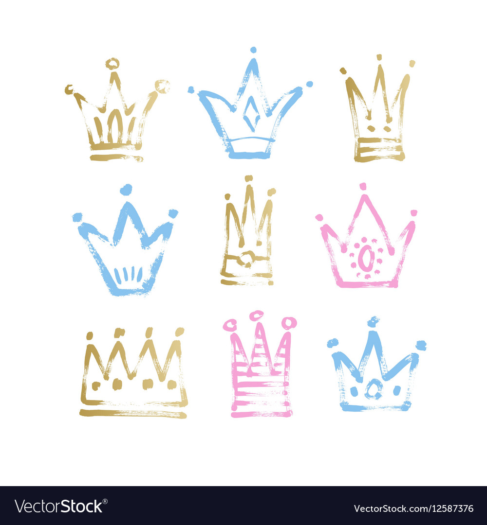 Sketch drawing princess and the king crown