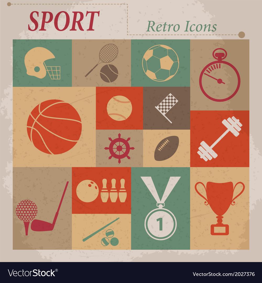 Sport flat retro icons vector image