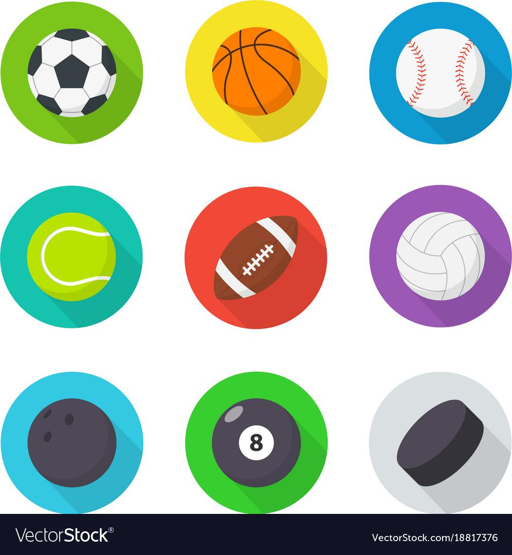 Sports balls set flat cartoon balls