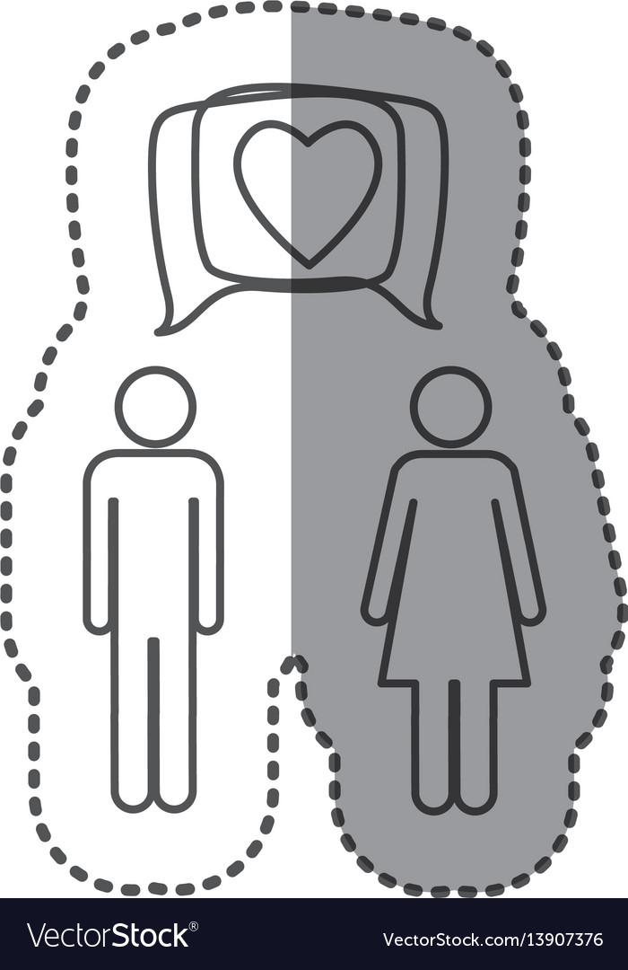 Sticker silhouette pictogram male and female with