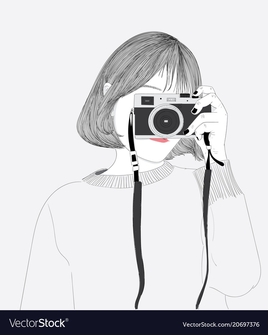 The Short Haired Girl Is Taking A Picture Herself Vector Image