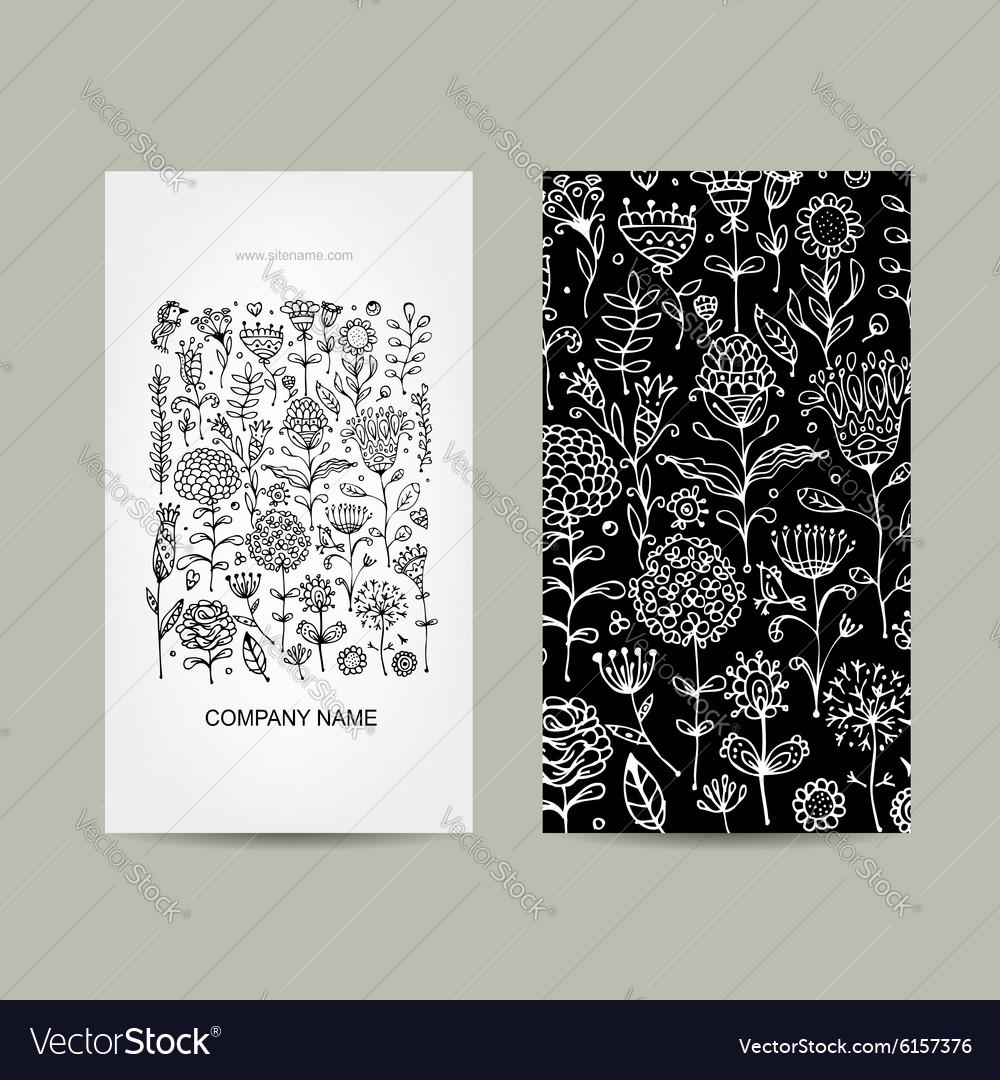 Vintage business cards floral design