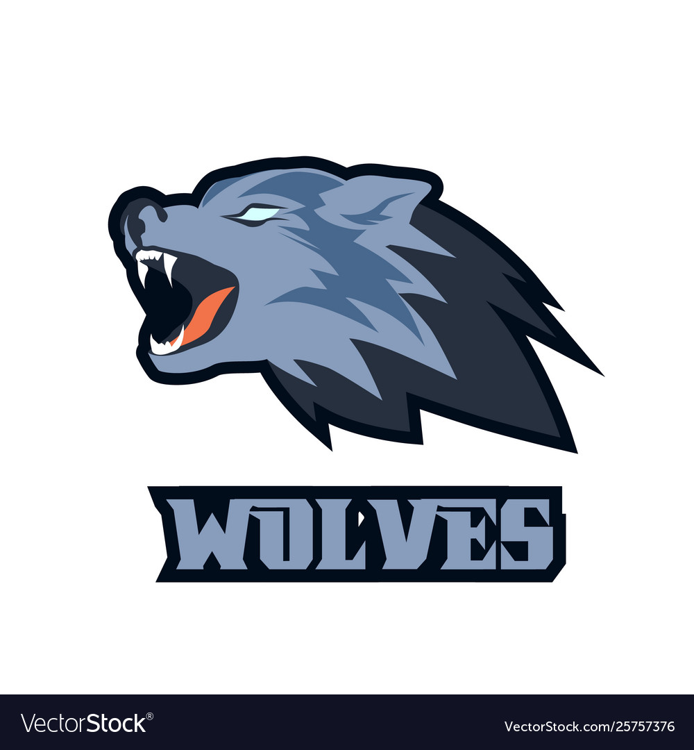 Wolf head mascot logo roaring animal