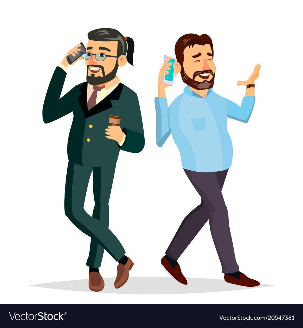 business men talking to each other on the phone vector image