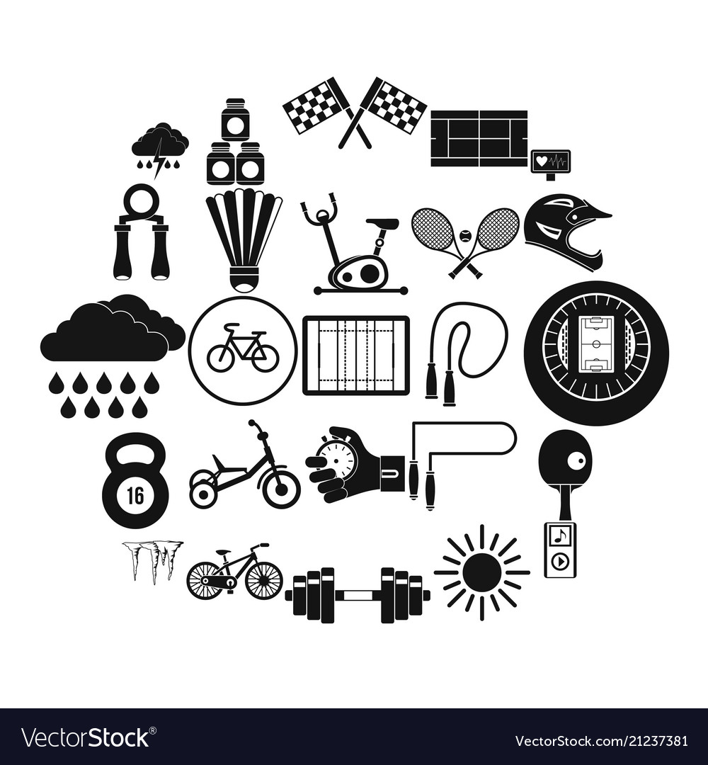 Cycling icons set simple style