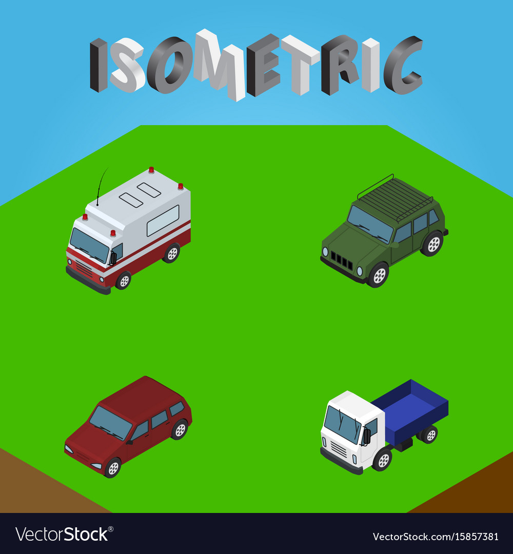 Isometric automobile set of first-aid car lorry
