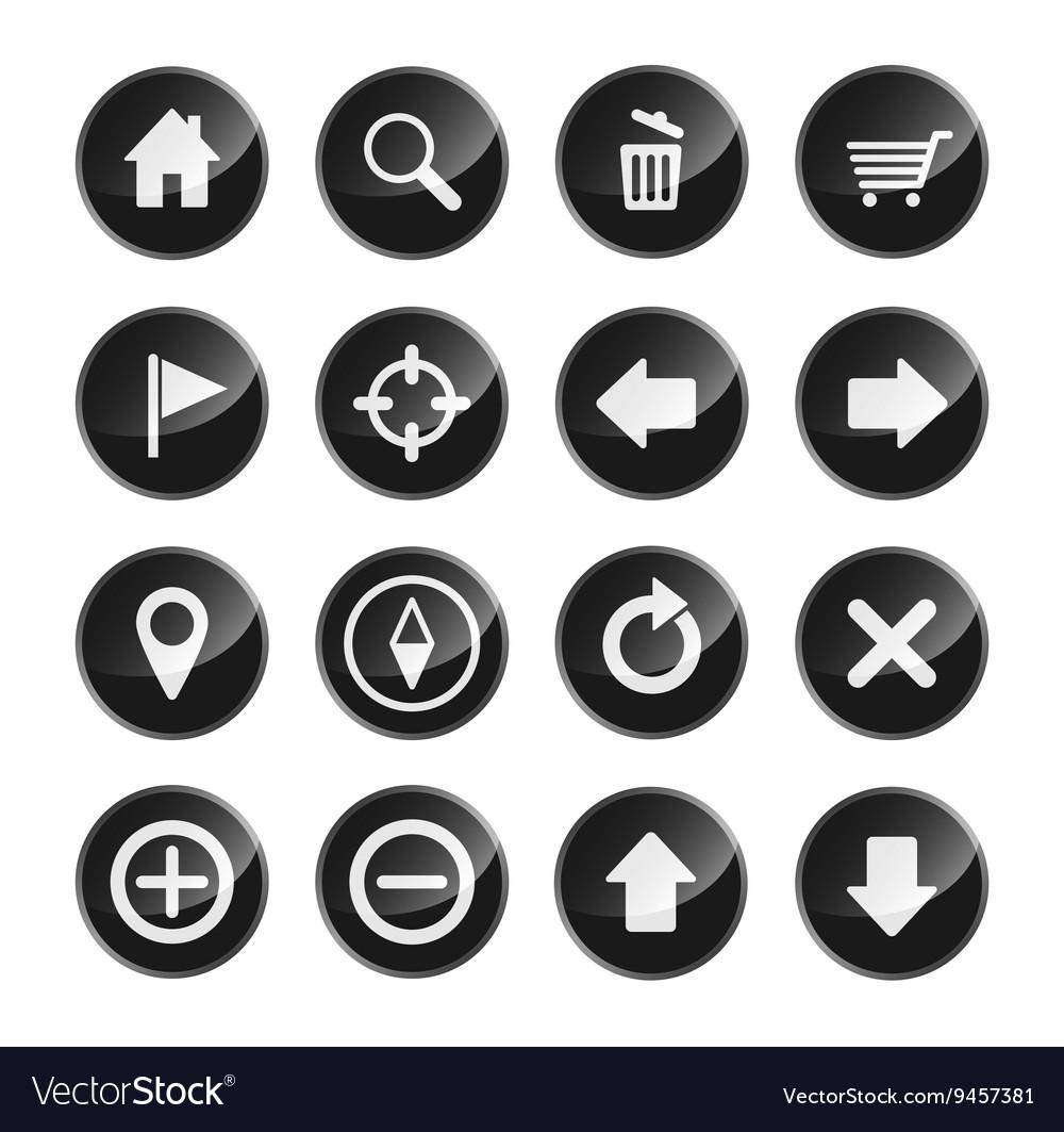 Navigation menu icon set glossy black