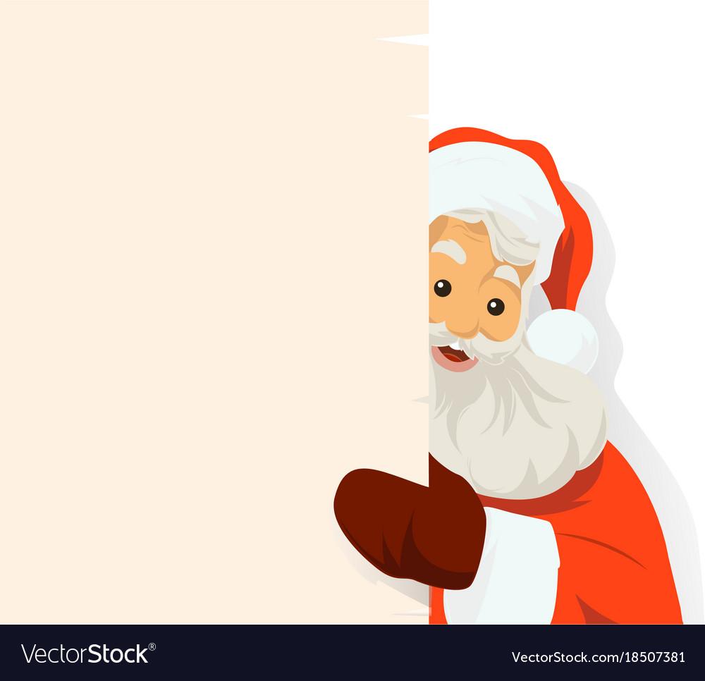santa claus holding blank sign royalty free vector image