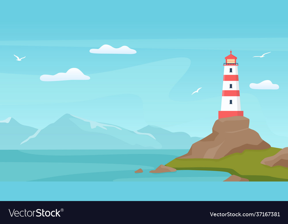 Sea landscape with beacon lighthouse tower