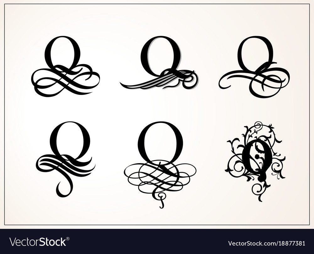 vintage set capital letter q for monograms and vector image