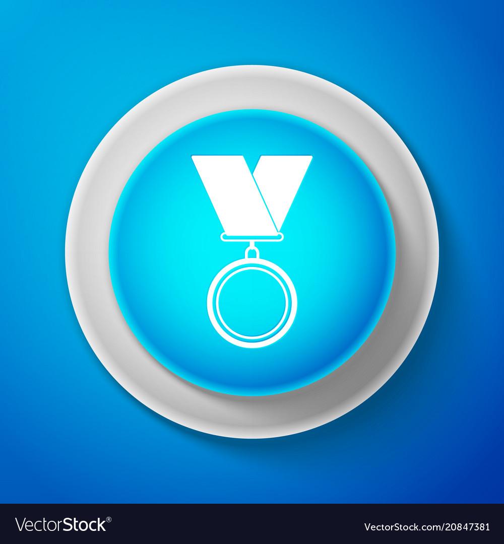 White medal icon on blue background winner simbol vector image