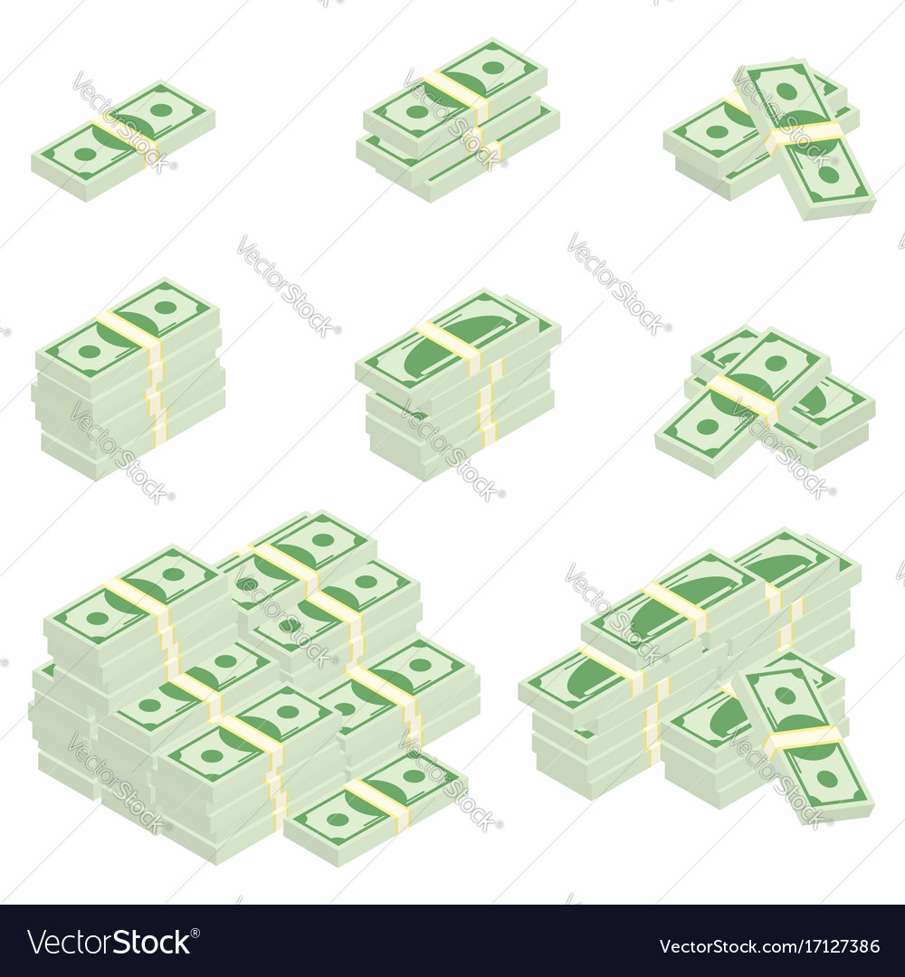 Dollars packages of banknotes in various angles
