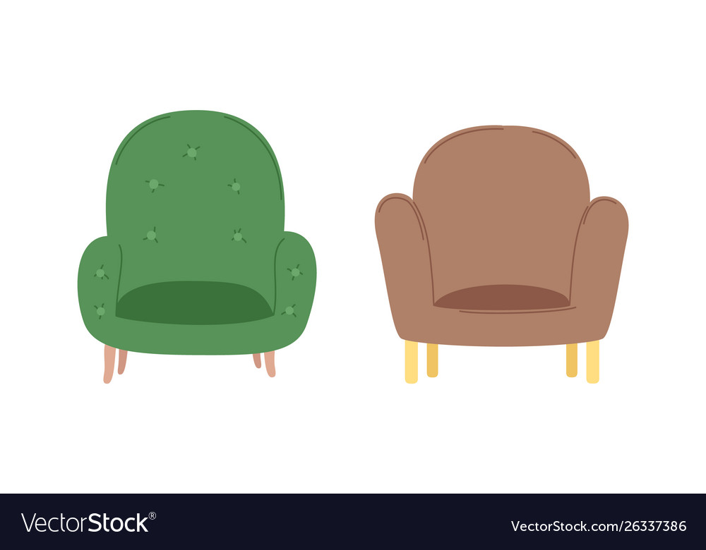 fluffy fortable armchairs retro style vector