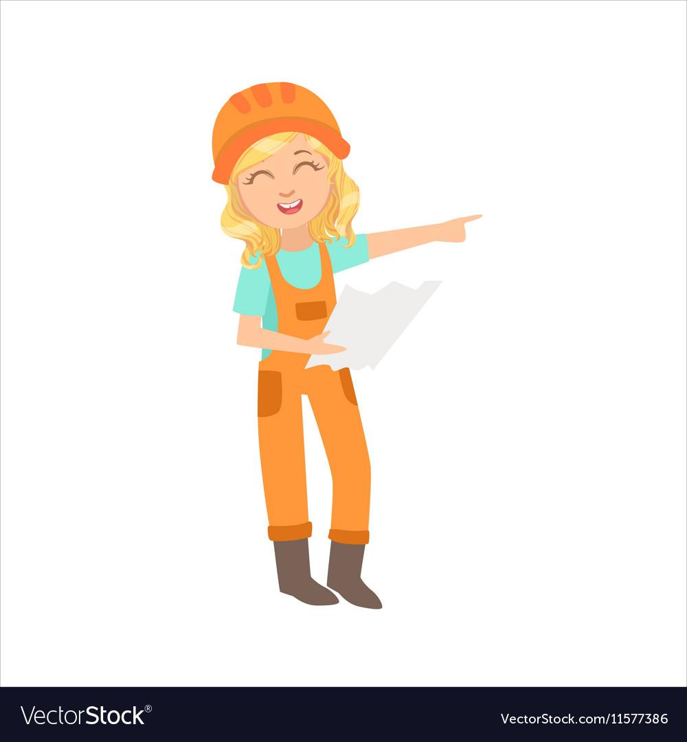 Girl Work Superintendent Executing Construction