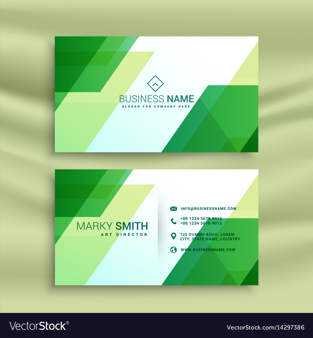 Green business card template with abstract shapes vector image wajeb Gallery
