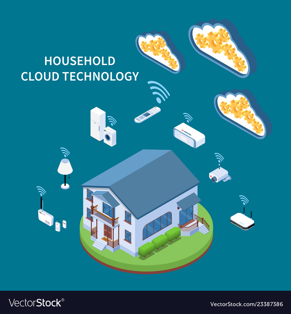 Household cloud technology isometric composition