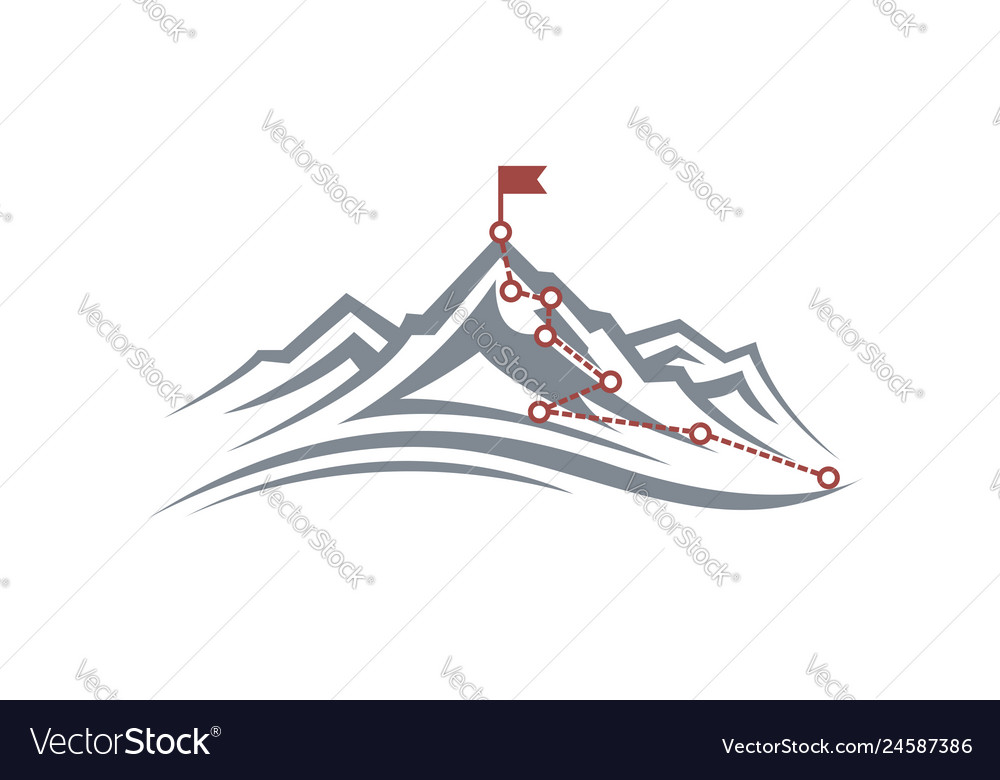 Mountain climbing route to peak