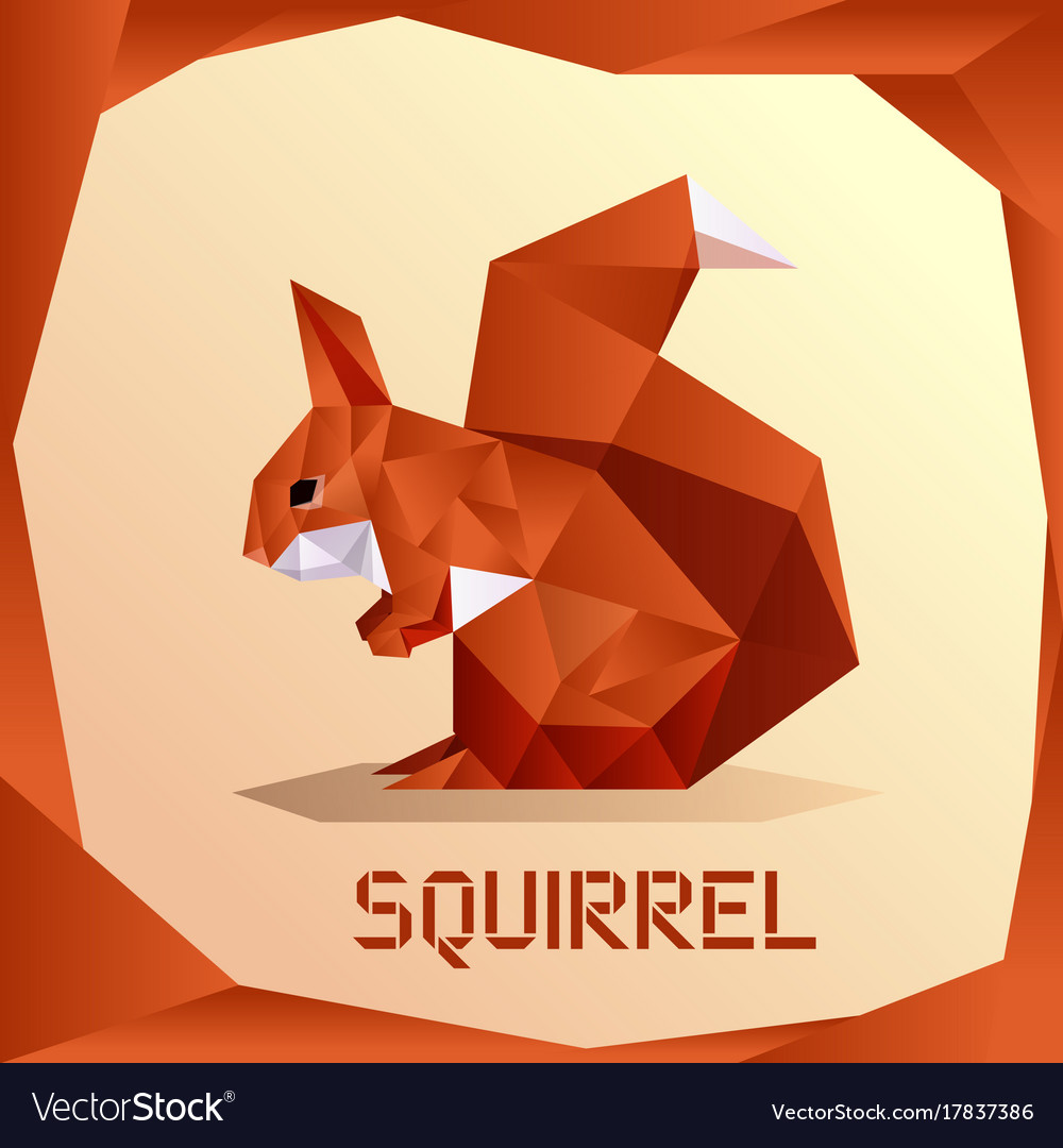 Origami Orange Squirrel Vector Image