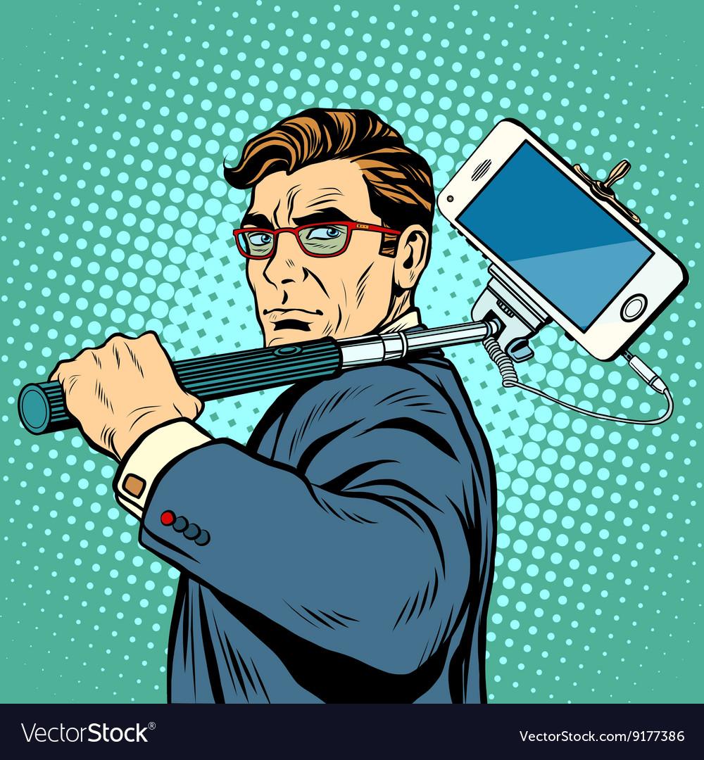 Selfie man blogger smartphone