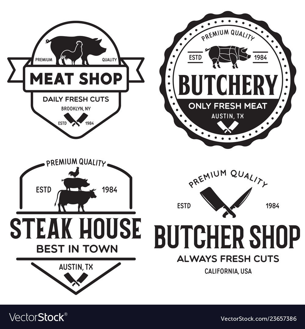 Set of butcher shop and butchery hand written