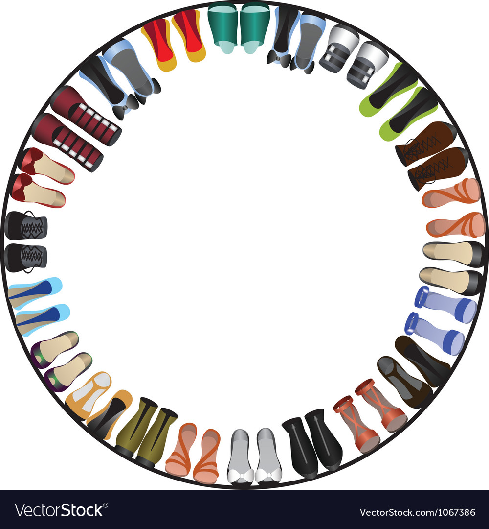 Shoes circle frame vector image