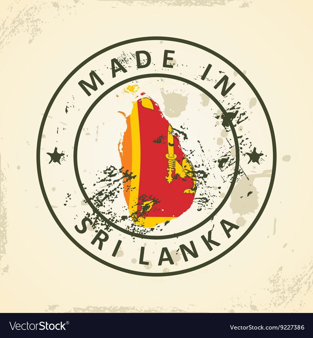 Stamp with map flag of Sri Lanka