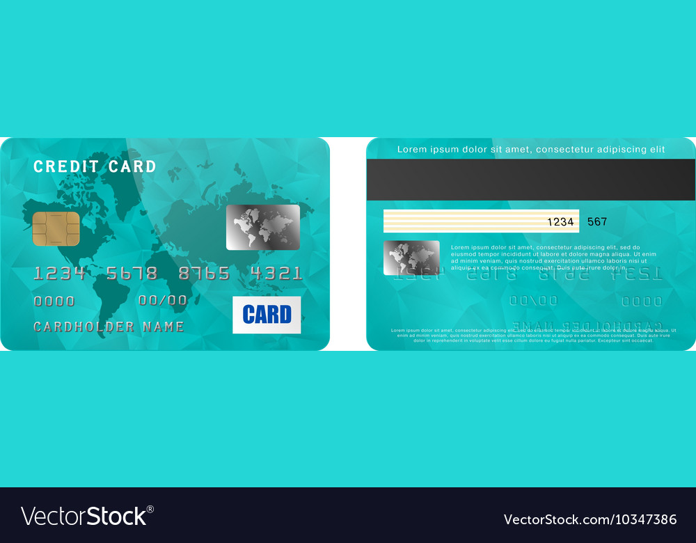 Turquoise credit card two sides in realistic style