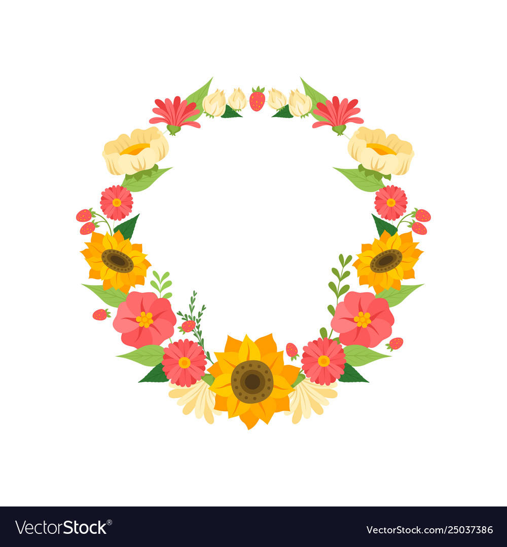 Wreath with bright blooming flowers floral round