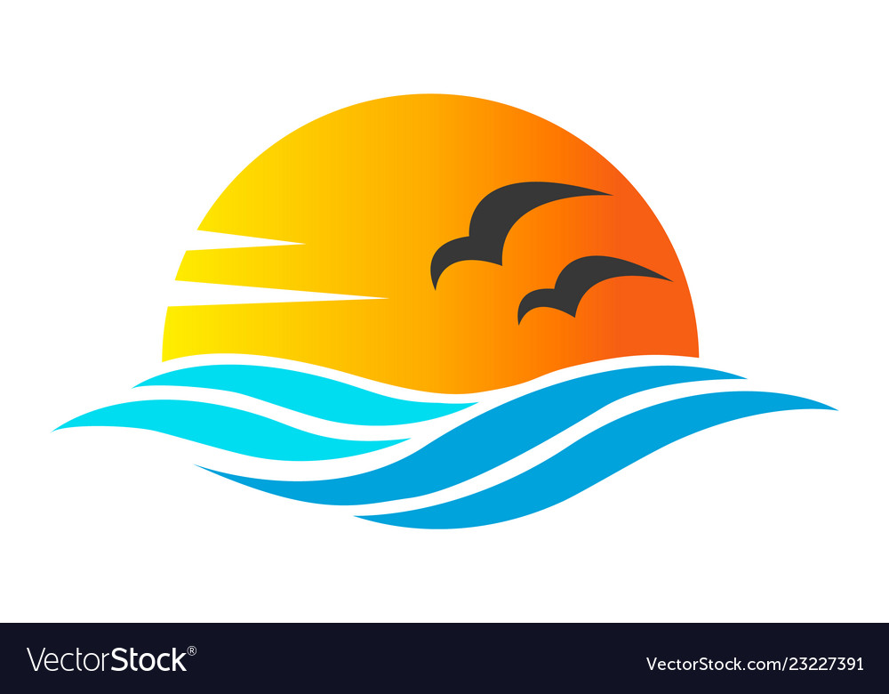 Abstract design of ocean icon or logo with sun