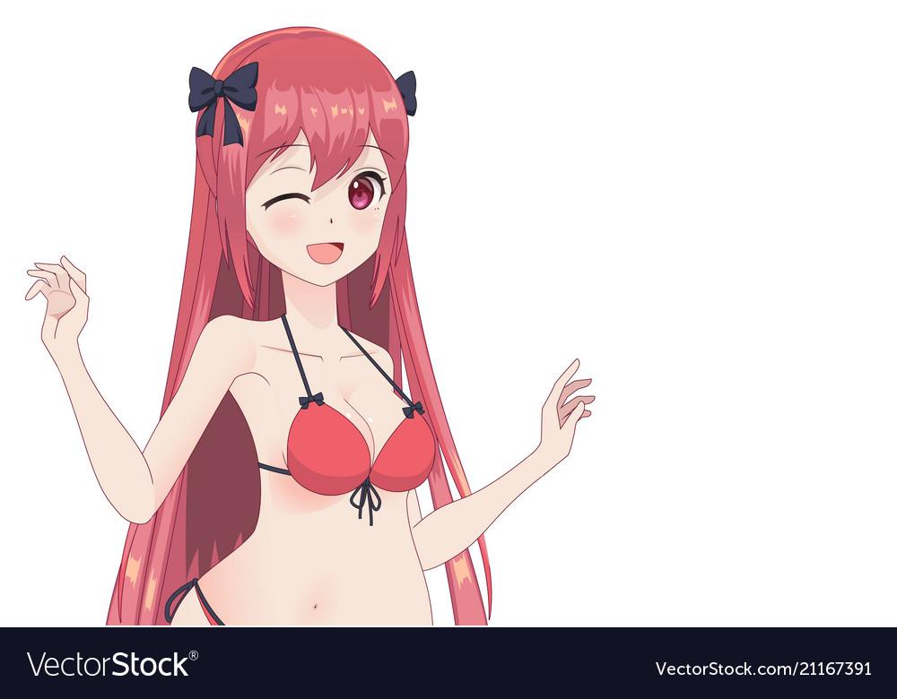 Beautiful Anime Manga Girl In Bikini Royalty Free Vector