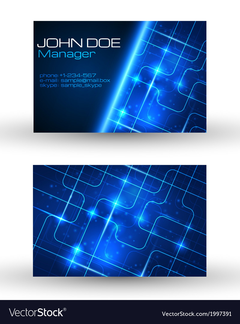 Business cards set with technology design