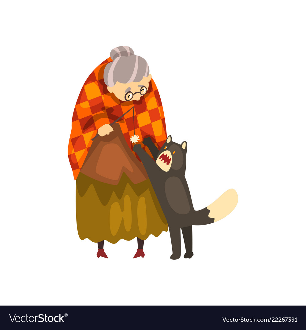 Cute granny playing with her black cat lonely old