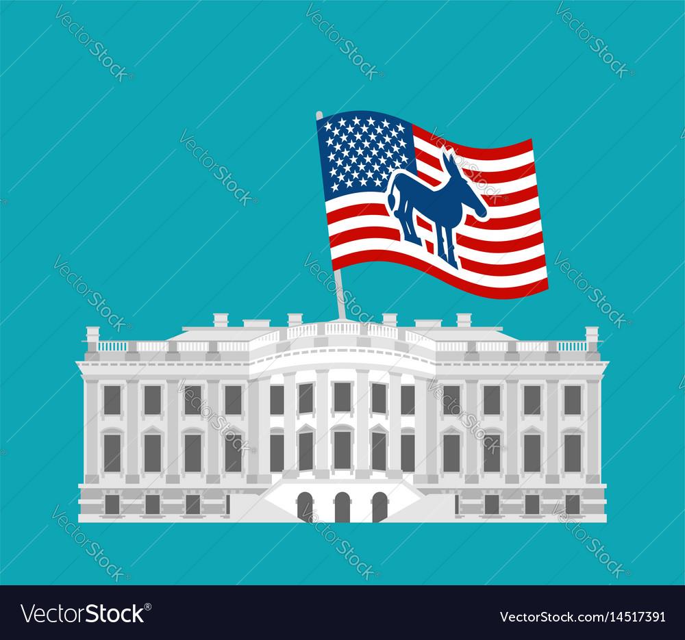 Democrat win white house flag blue donkey