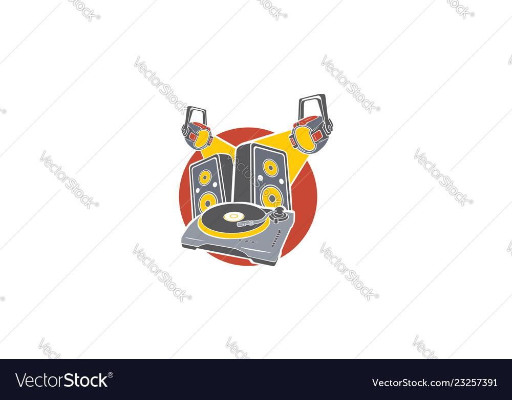 Dj turntable logo icon