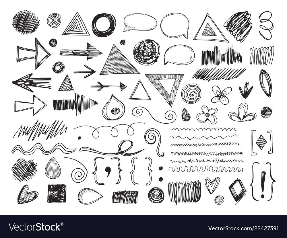 Doodle shapes pencil arrows hand drawn textures