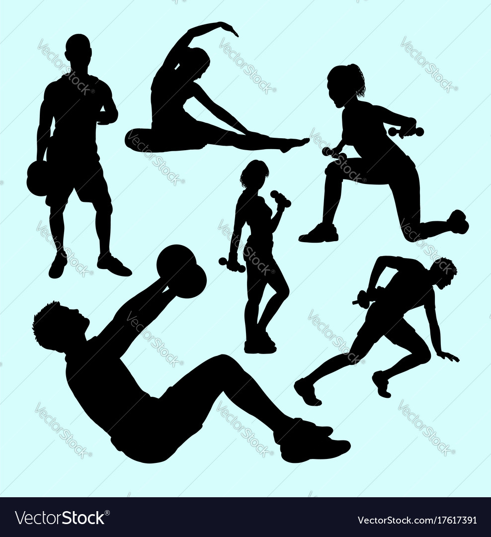 Fitness and gymnastic teenager people sport silhou
