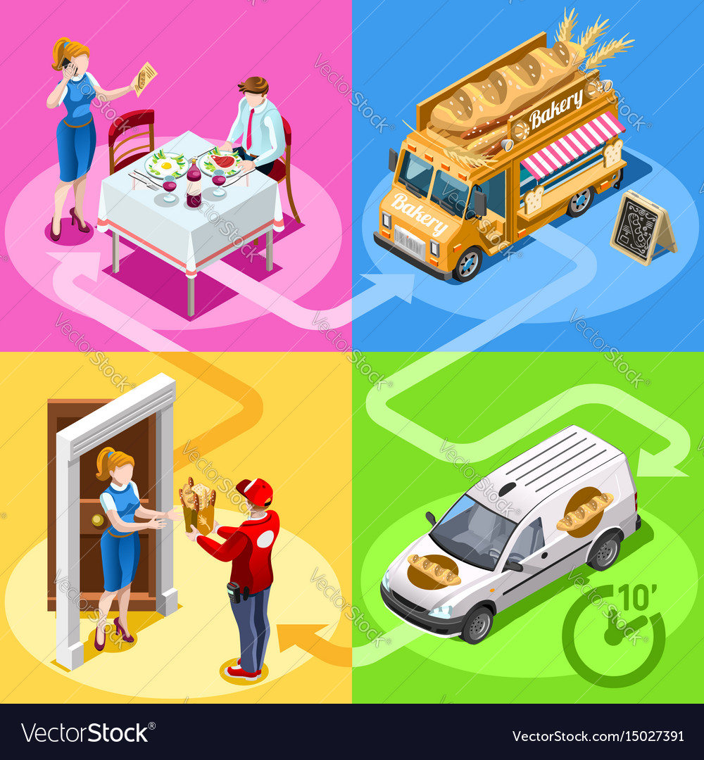 Food truck bakery bread home delivery isometric vector image