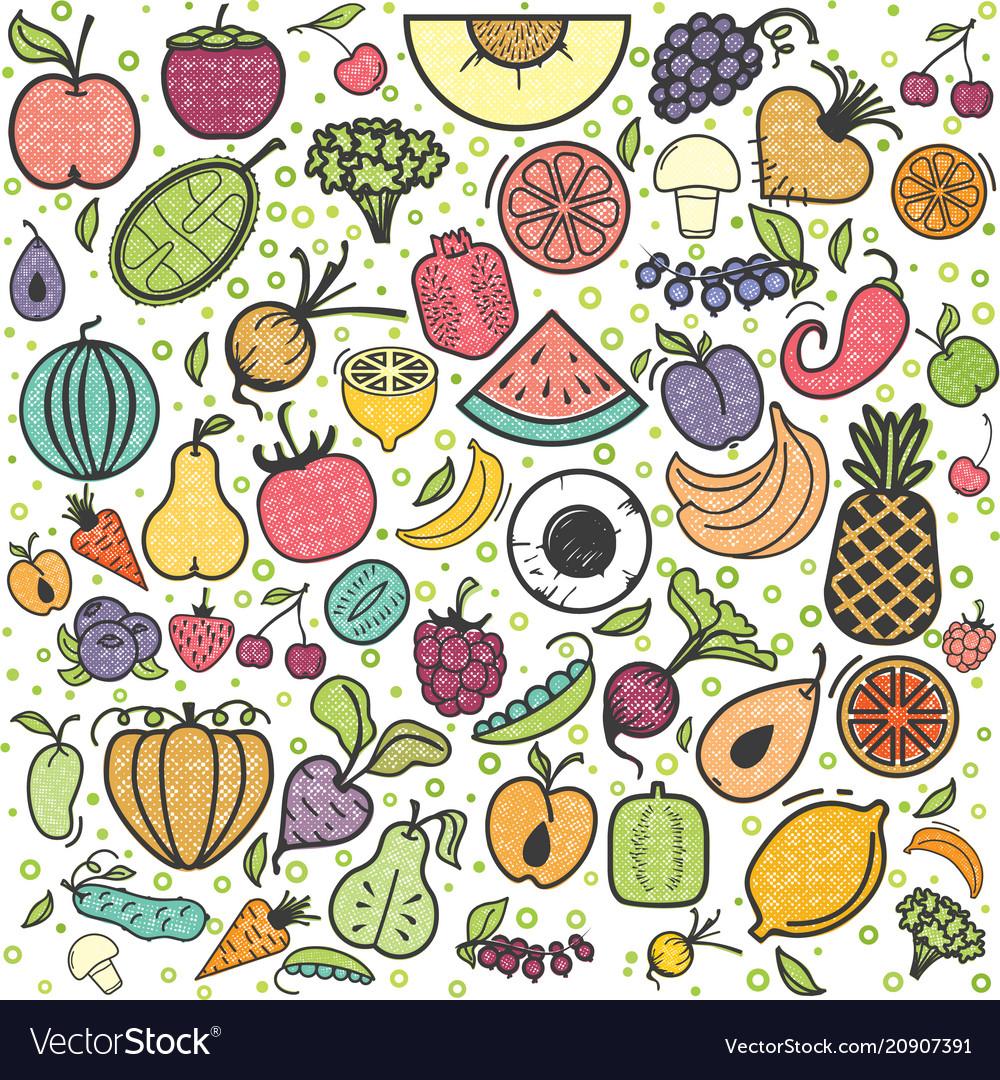 Fruits and vegetables pattern vegetarian set